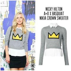 Alice + Olivia x Basquiat Nikia Crown Sweater